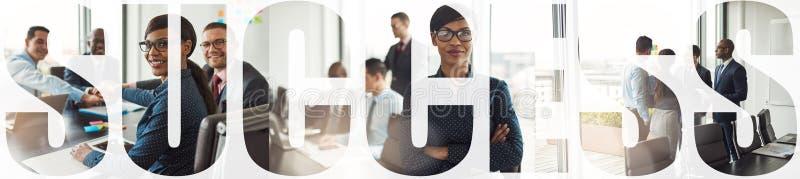 Colagem de empresários bem-sucedidos trabalhando juntos em um escritório foto de stock royalty free