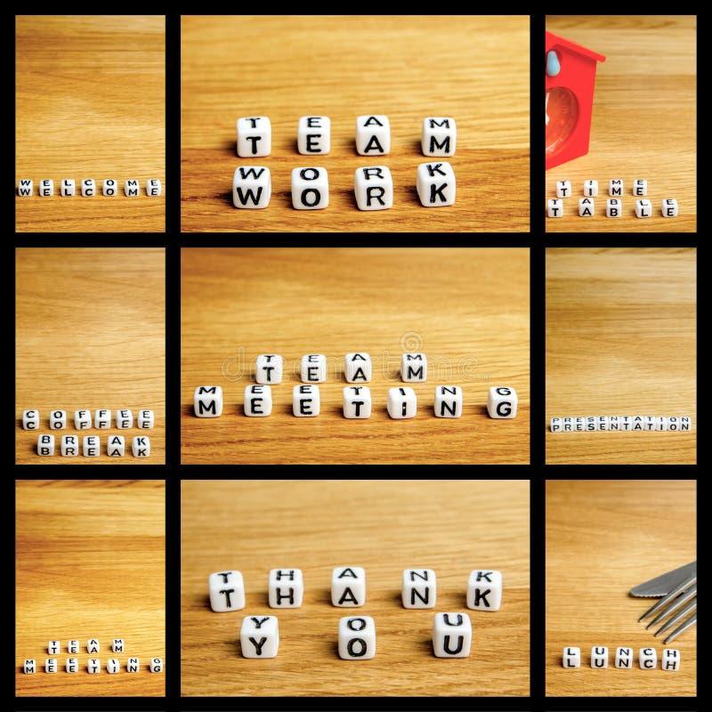 A colagem de estatuetas diminutas pequenas com pouco corta como uma parte de imagens do mosaico da reunião da equipe com quadros  fotos de stock