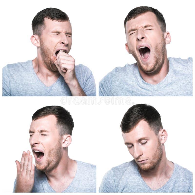 Colagem de expressões cansados, sonolentos da cara foto de stock royalty free