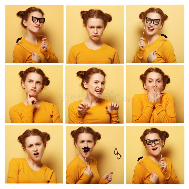 Colagem de expressões faciais diferentes da jovem mulher fotos de stock royalty free