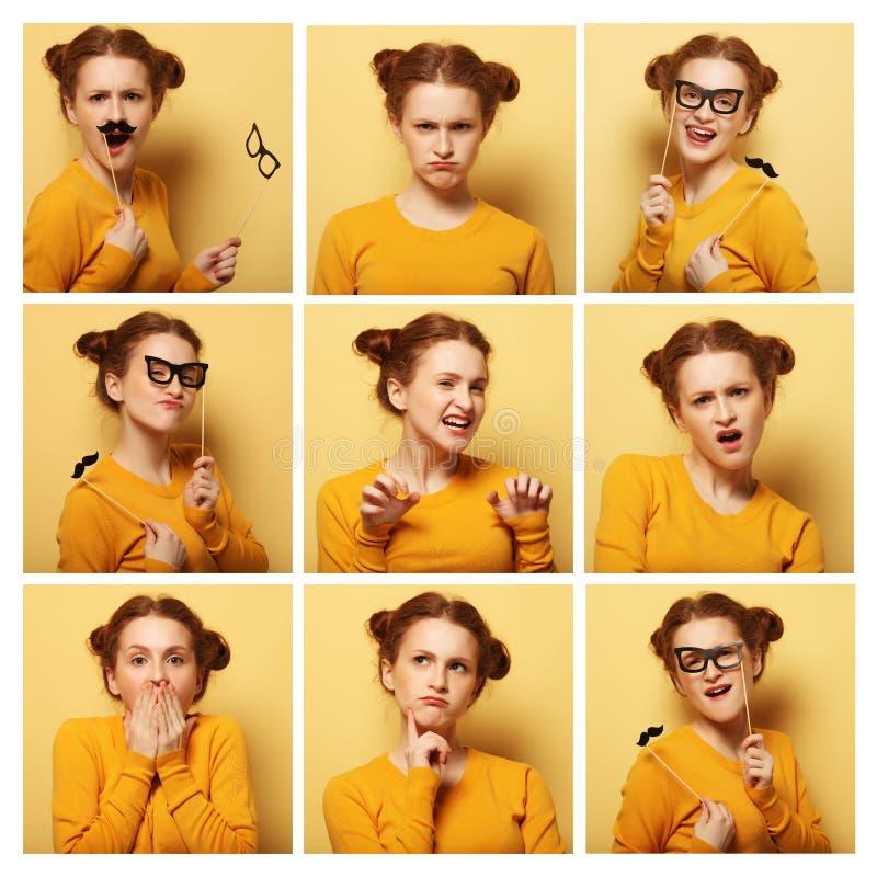Colagem de expressões faciais diferentes da jovem mulher fotos de stock