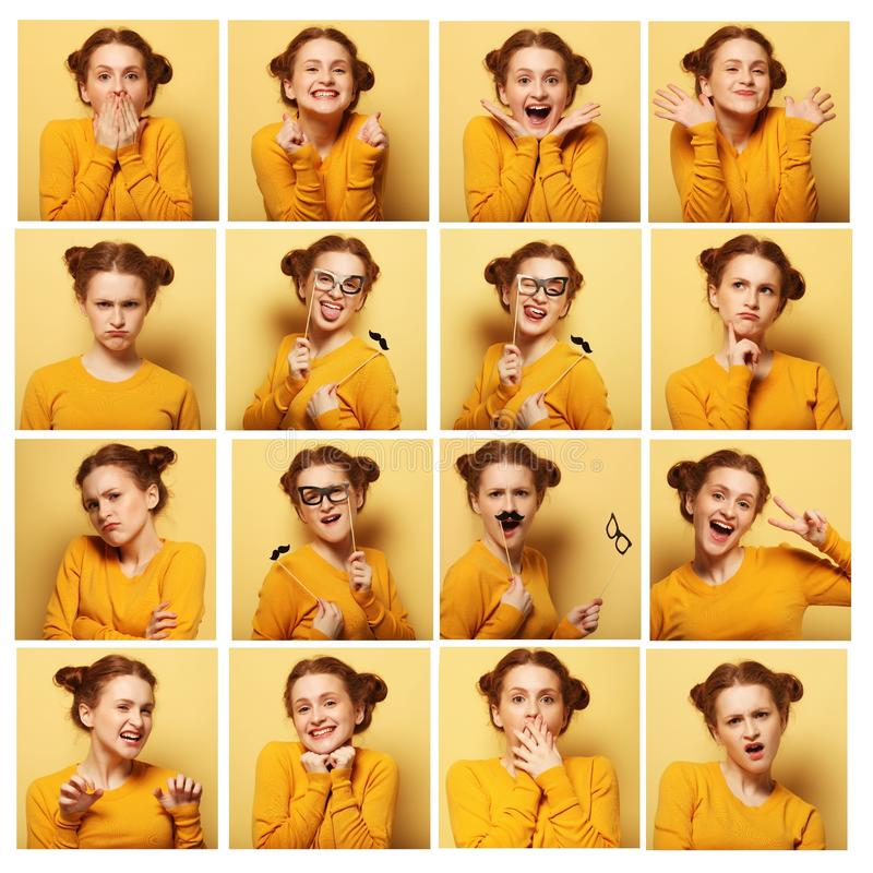 Colagem de expressões faciais diferentes da jovem mulher imagens de stock