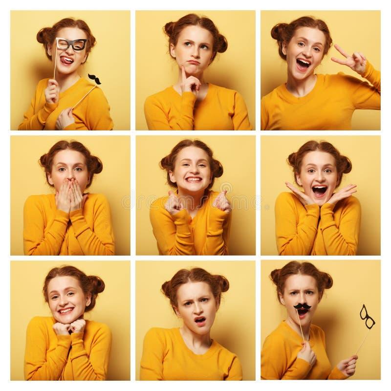 Colagem de expressões faciais diferentes da jovem mulher foto de stock royalty free