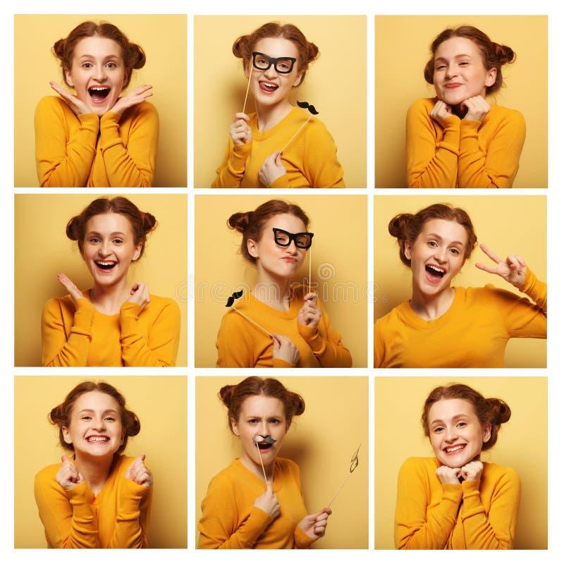 Colagem de expressões faciais diferentes da jovem mulher imagem de stock royalty free