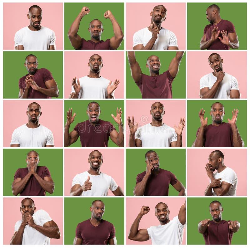 A colagem de expressões faciais, de emoções e de sentimentos humanos diferentes foto de stock
