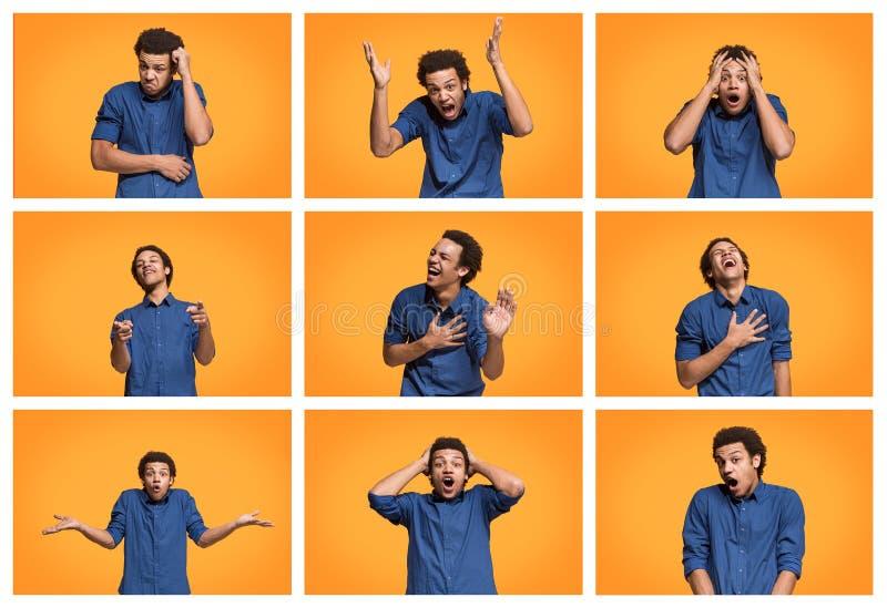 A colagem de expressões faciais, de emoções e de sentimentos humanos diferentes fotografia de stock royalty free