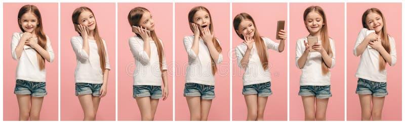 A colagem de expressões faciais, de emoções e de sentimentos humanos diferentes da menina do jovem adolescente foto de stock