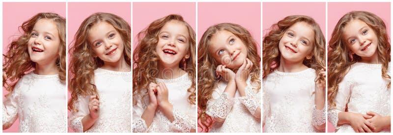 A colagem de expressões faciais, de emoções e de sentimentos humanos felizes da menina do jovem adolescente foto de stock