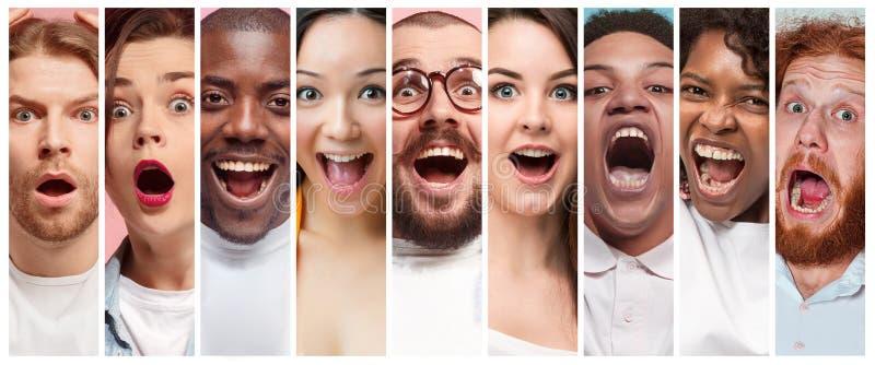 A colagem de expressões de sorriso da cara das jovens mulheres e dos homens fotografia de stock