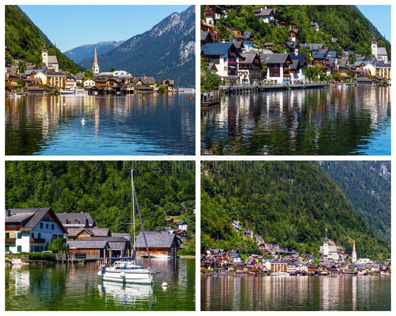 Colagem de fotos da vila de Hallstatt em Áustria foto de stock