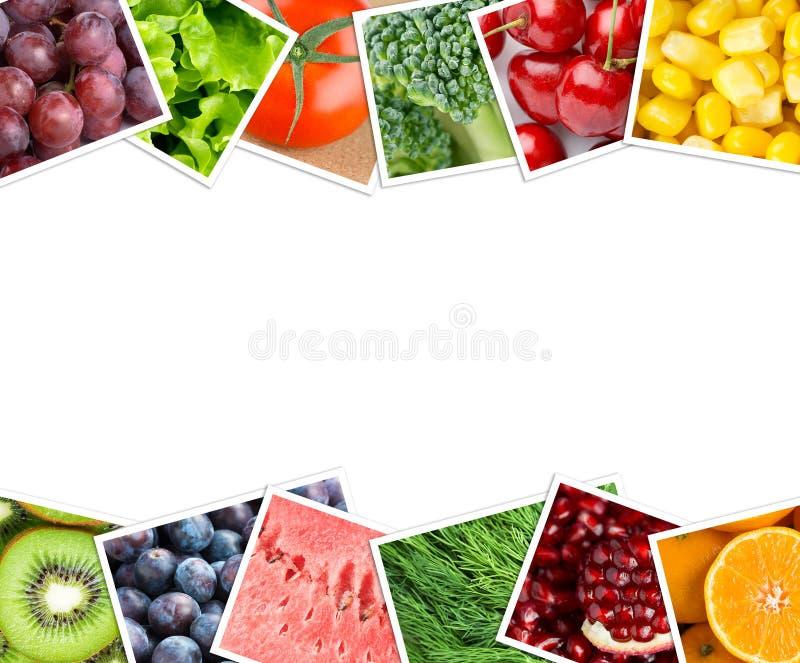 Colagem de fotos das frutas e legumes imagens de stock