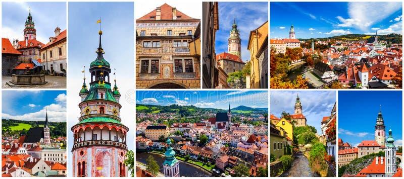 Colagem de fotos de Cesky Krumlov em Czechia imagens de stock royalty free