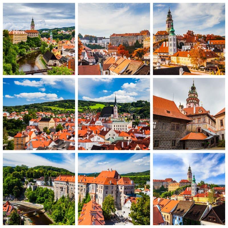 Colagem de fotos de Cesky Krumlov em Czechia imagem de stock