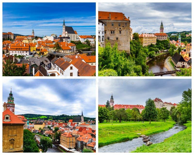 Colagem de fotos de Cesky Krumlov em Czechia fotografia de stock
