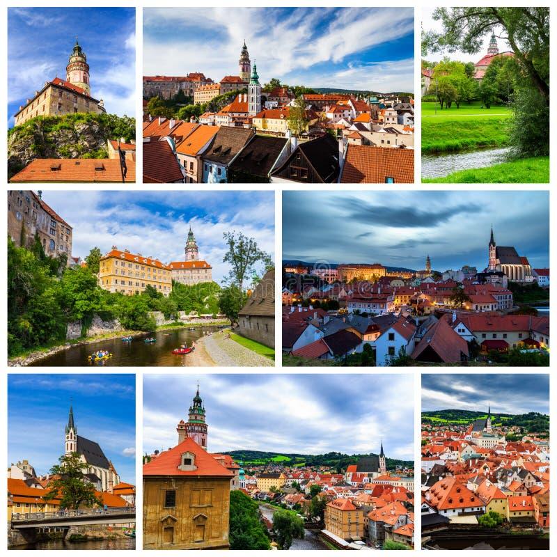 Colagem de fotos de Cesky Krumlov em Czechia foto de stock royalty free