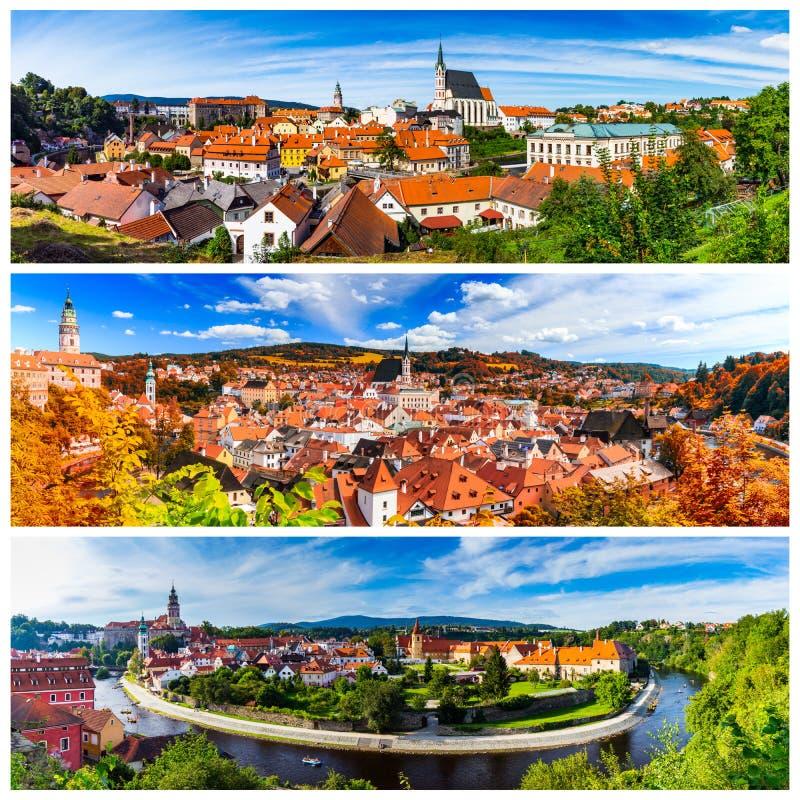 Colagem de fotos de Cesky Krumlov em Czechia fotos de stock royalty free