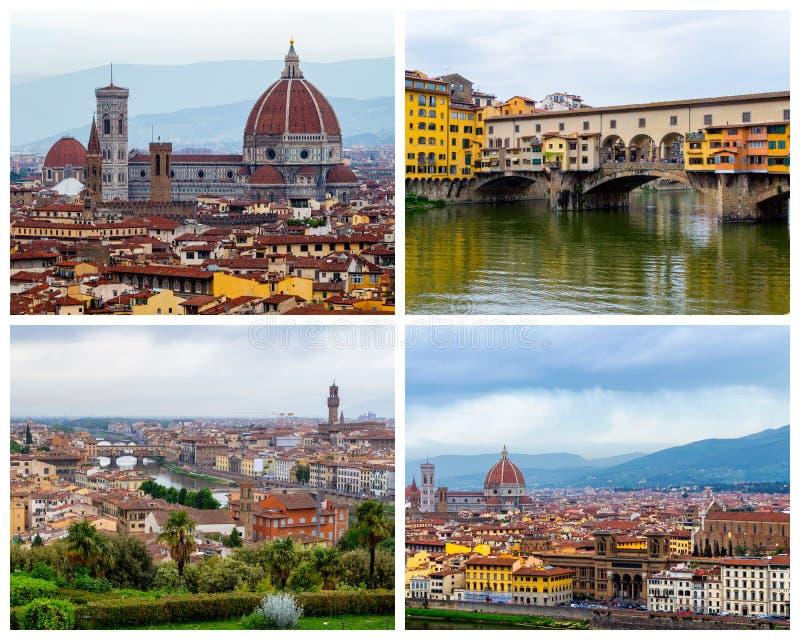 Colagem de fotos de Florença em Itália (Ponte Vecchio, Florence Cat imagem de stock royalty free