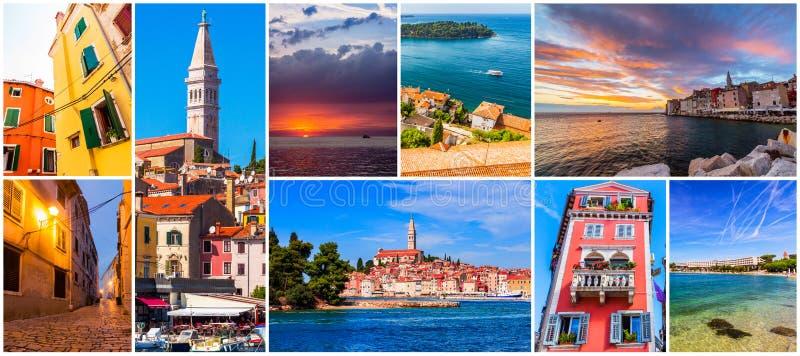Colagem de fotos de Rovinj na Croácia imagens de stock royalty free