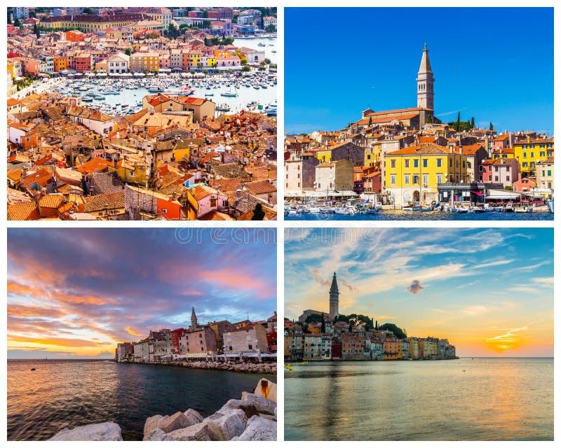 Colagem de fotos de Rovinj na Croácia fotografia de stock