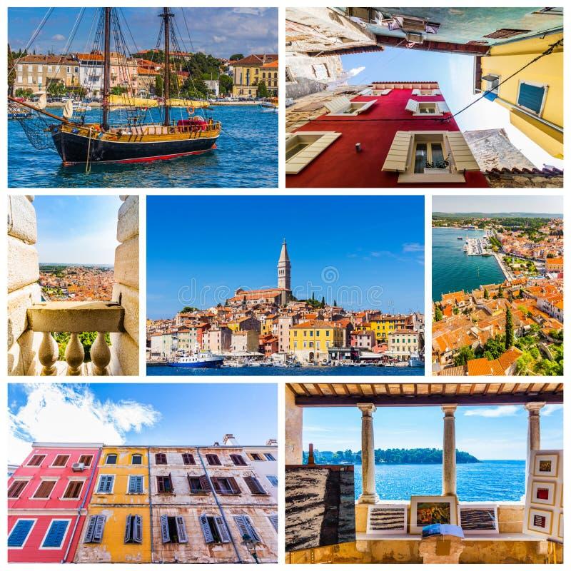 Colagem de fotos de Rovinj na Croácia foto de stock