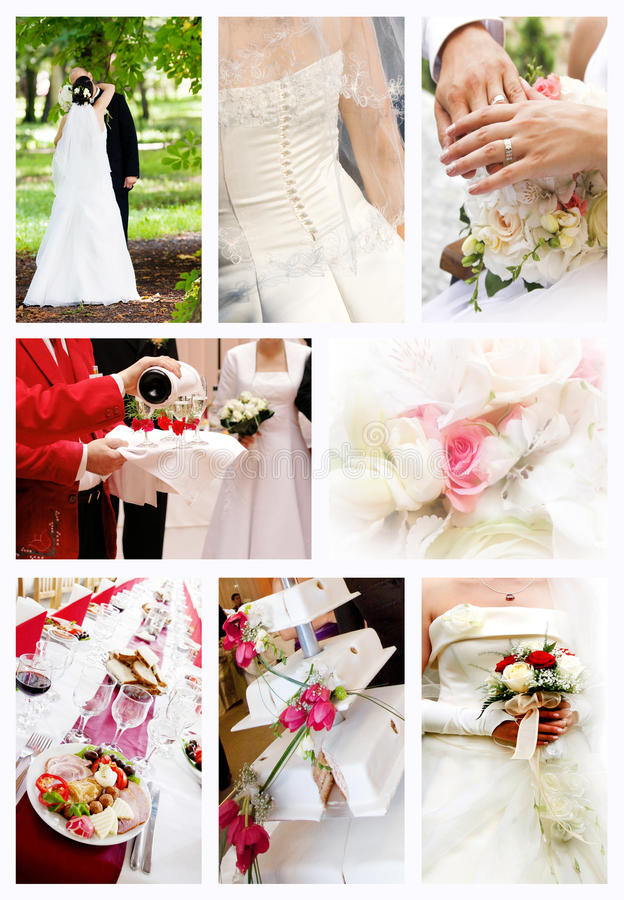 Colagem de fotos do casamento foto de stock