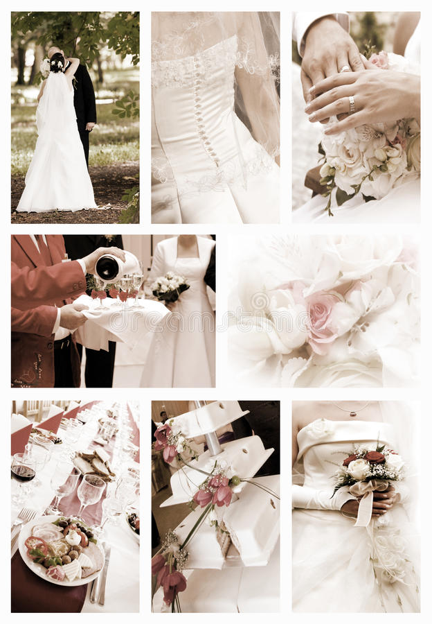Colagem de fotos do casamento fotos de stock