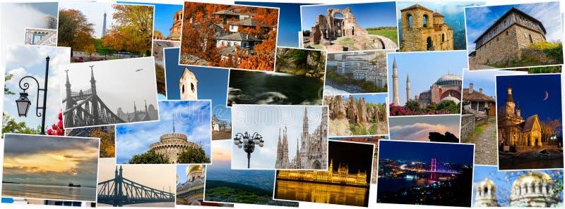 Colagem de fotos do curso, países diferentes fotos de stock