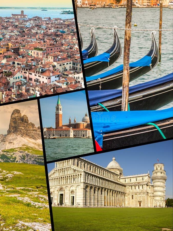 Colagem de fotos do turista de Itália fotos de stock