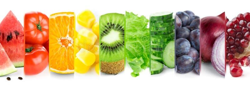 Colagem de frutas e legumes da cor Alimento maduro fresco foto de stock