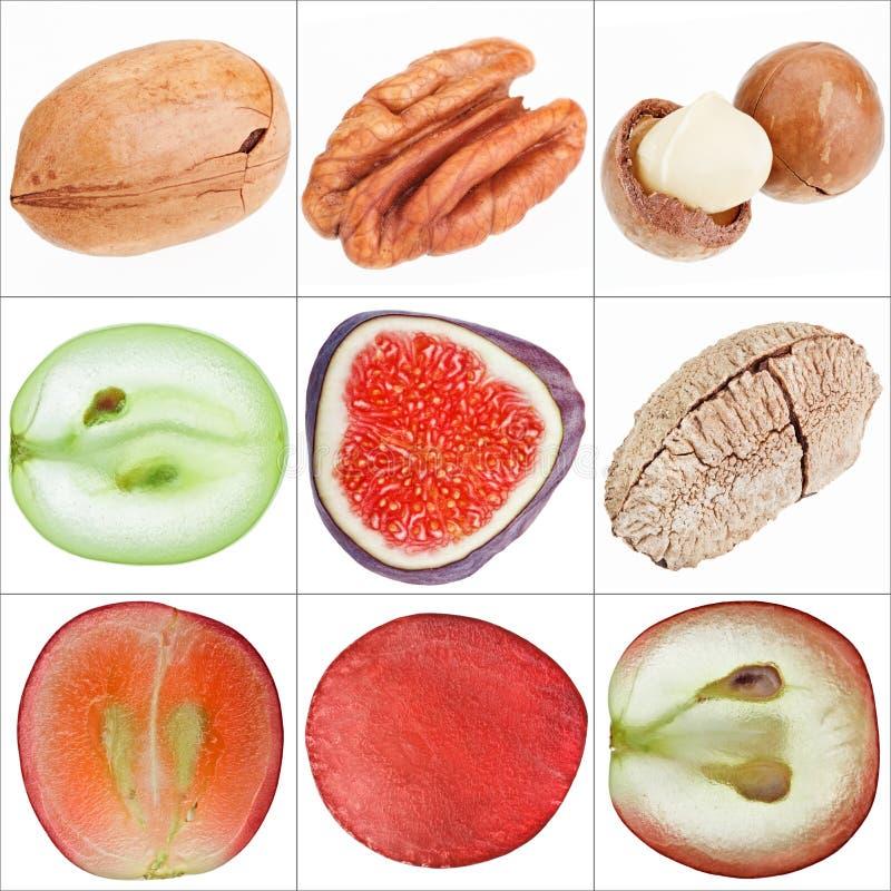 Colagem de frutas isoladas (porcas, uva, figo) imagens de stock royalty free