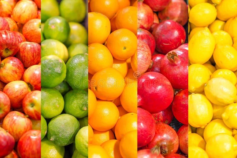 Colagem de frutos diferentes imagens de stock royalty free