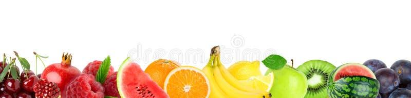 Colagem de frutos misturados Frutos frescos da cor imagens de stock
