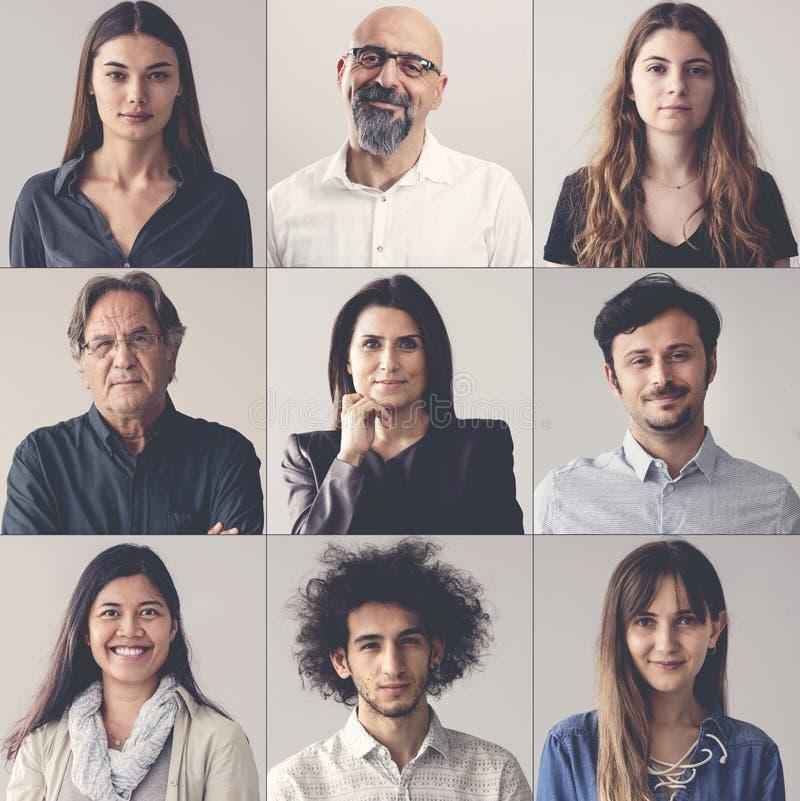 Colagem de homens e de mulheres de sorriso dos retratos imagem de stock royalty free