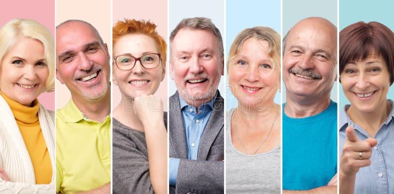 Colagem de homens europeus superiores e do sorriso da mulher imagens de stock