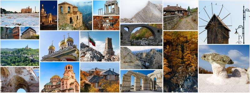 Colagem de imagens búlgaras do curso imagem de stock
