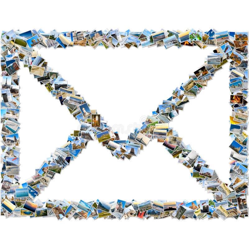Colagem de imagens do curso - envelope do correio fotos de stock royalty free