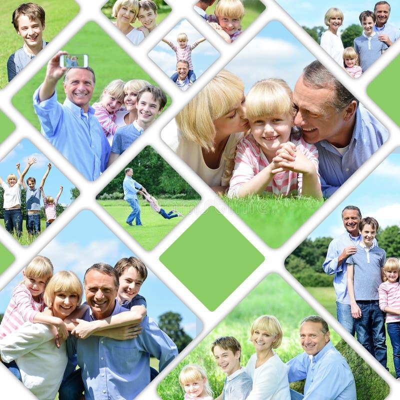 Colagem de imagens felizes da família imagens de stock