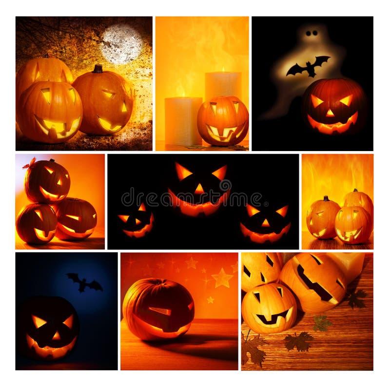 Colagem de incandescência das abóboras de Halloween imagens de stock royalty free