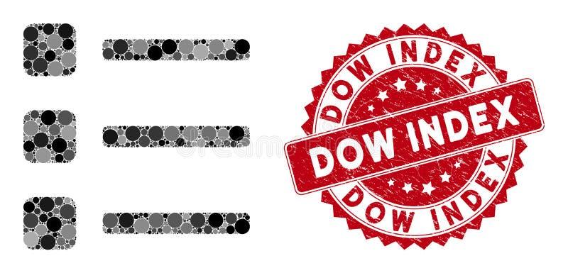 Colagem de Itens com Carimbo de Índice de Dow de Socorro ilustração royalty free