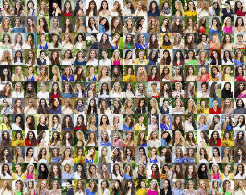 Colagem de jovens mulheres bonitas entre dezoito e trinta sim imagens de stock