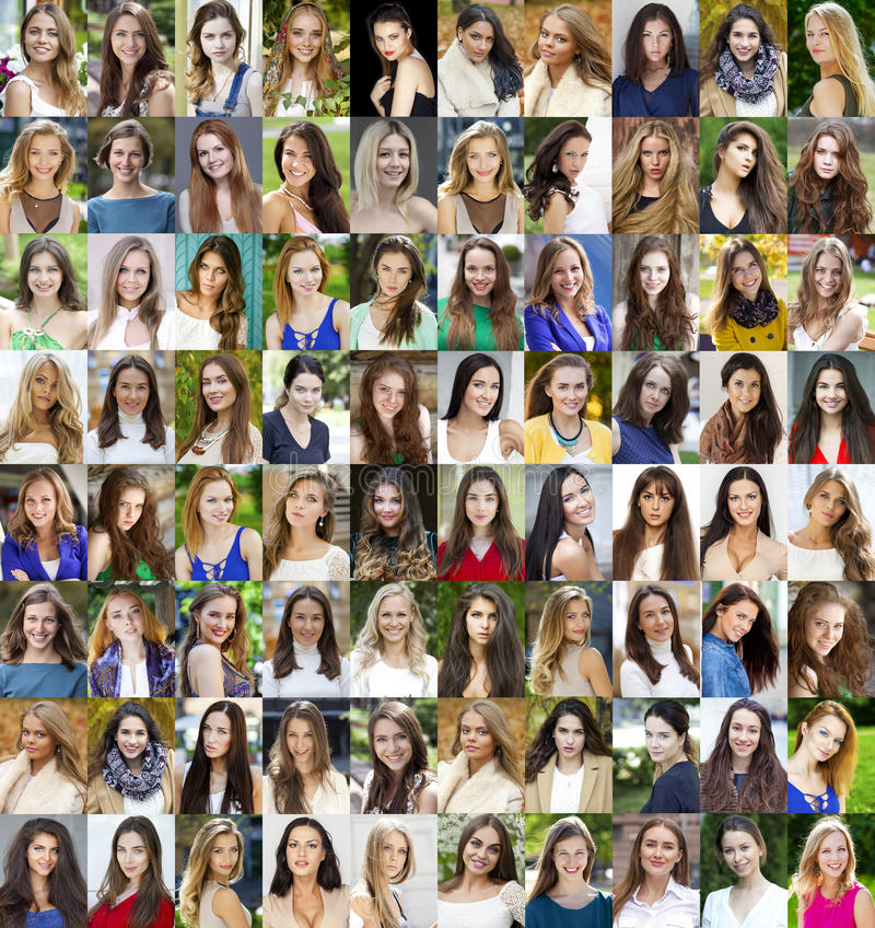 Colagem de jovens mulheres bonitas entre dezoito e trinta sim fotografia de stock royalty free