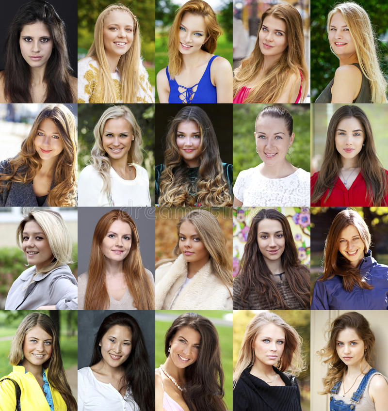Colagem de jovens mulheres bonitas entre dezoito e trinta sim fotos de stock royalty free