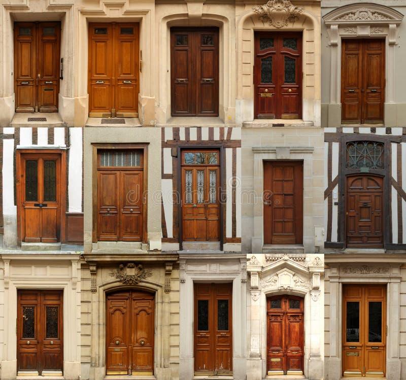 Colagem de madeira das portas fotos de stock royalty free