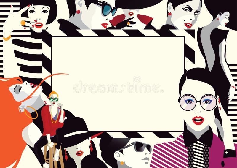 Colagem de meninas elegantes no pop art do estilo ilustração do vetor