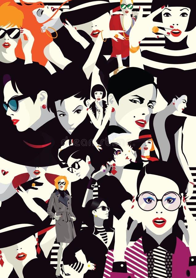Colagem de meninas elegantes no pop art do estilo ilustração stock