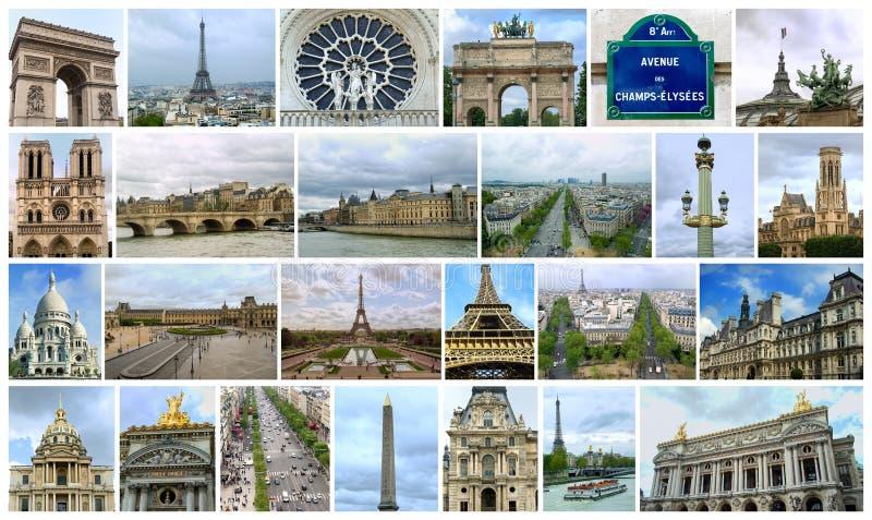 Colagem de muitos lugares famosos em Paris fotos de stock royalty free