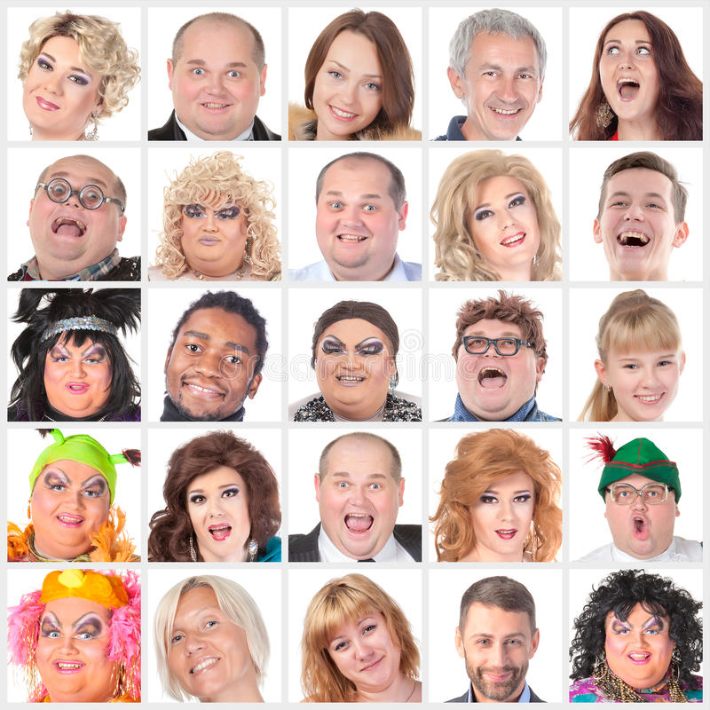 Colagem de muitos rostos humanos felizes diferentes fotografia de stock royalty free
