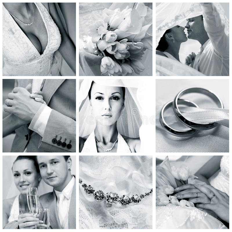 Colagem de nove fotos wedding fotografia de stock royalty free