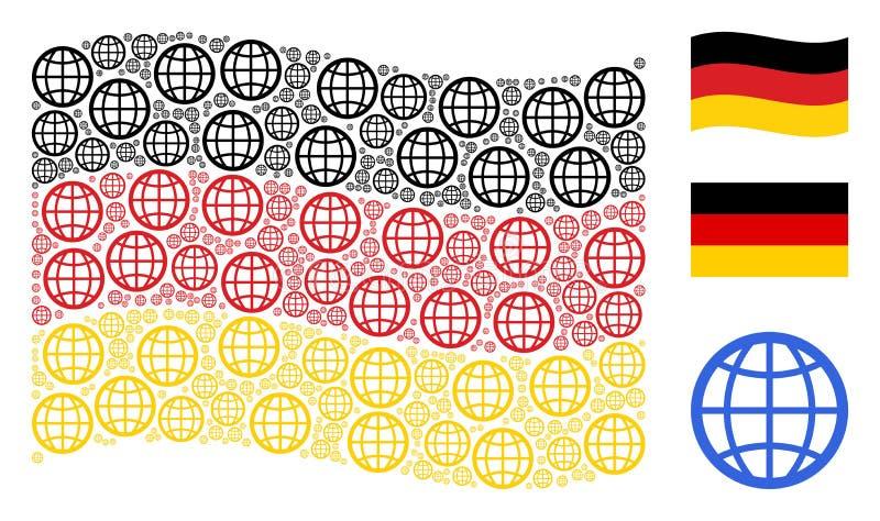 Colagem de ondulação da bandeira de Alemanha de artigos do globo ilustração royalty free