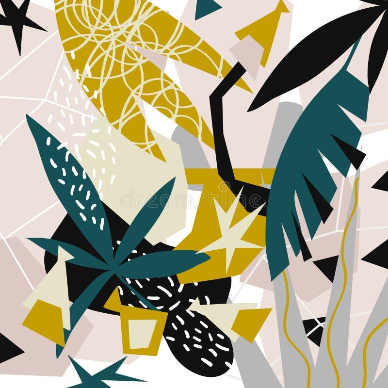 Colagem de papel dos elementos florais abstratos mão da ilustração do vetor tirada ilustração royalty free